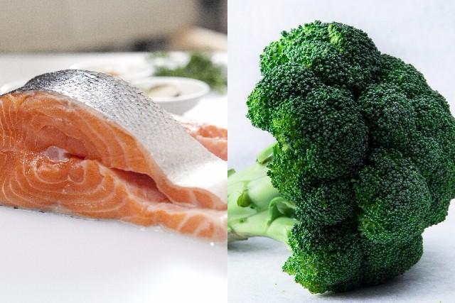 アラフォー食事鮭ブロッコリー